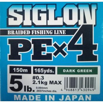 Шнур Sunline Siglon PE x4 150m (темн-зел)#0.3/0.094mm 5lb/2.1kg